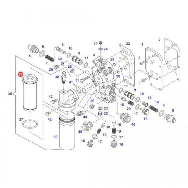 f916100600010 filtr hydrauliki jazdy rysunek 600x600 - Filtr oleju hydrauliki jazdy Donaldson P764554