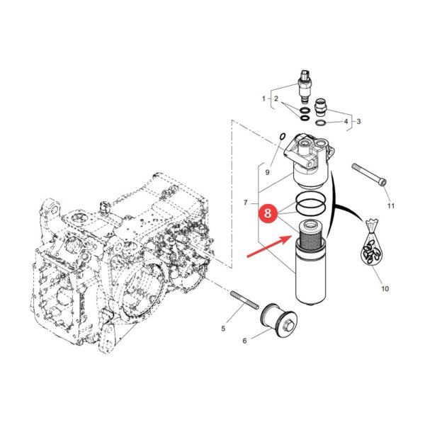 filtr oleju hydrauliki 4309229M1 rysunek 600x600 - Filtr oleju hydrauliki Massey Ferguson 4309229M1 Oryginał