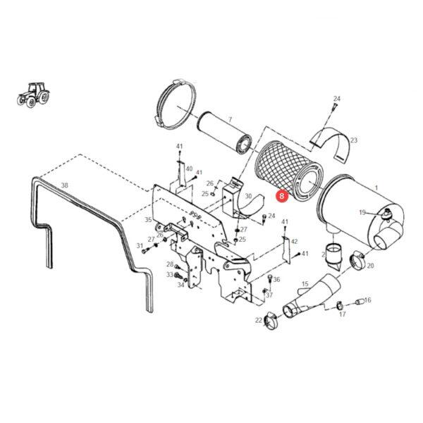 h716200090100 filtr powietrza rysunek 600x600 - Filtr powietrza zewnętrzny Donaldson P777638