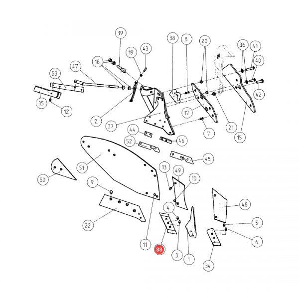 ge173331 dluto rysunek 600x600 - Dłuto prawe 3 otwory Gregoire-Besson 173332