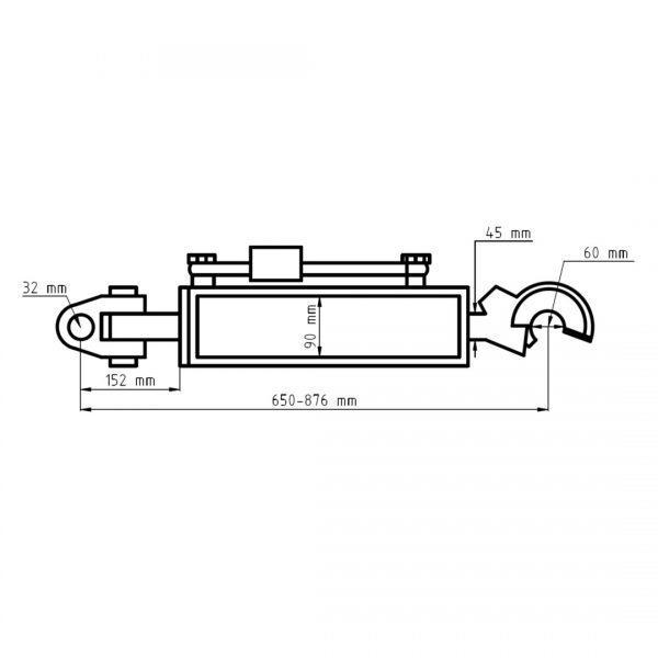 sx331201 lacznik centralny hydrauliczny wymiary 600x600 - Łącznik centralny hydrauliczny hak CBM kat. 3 przegub 650-876 mm Sparex