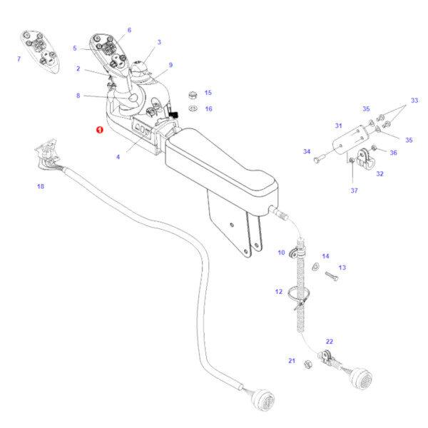 g916971160015 joystick rysunek 600x600 - Joystick sterowania z TMS Fendt G916971160015 Oryginał