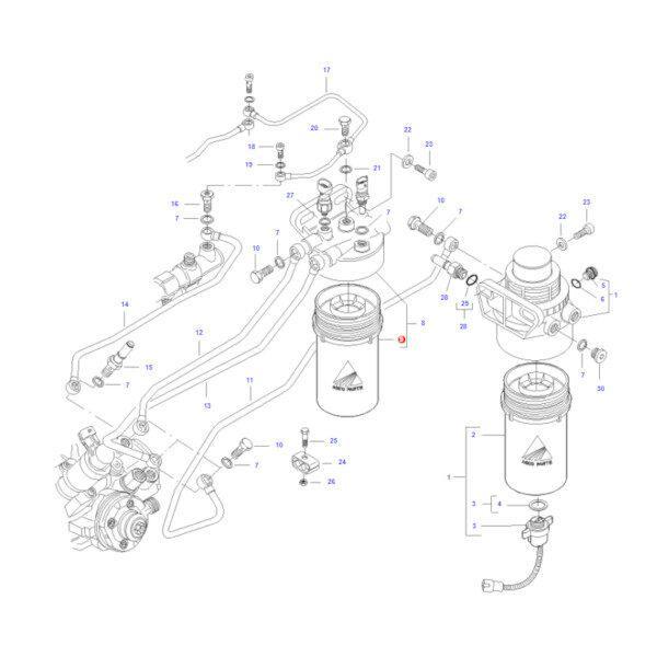 mfV837079556 katalog 600x600 - Filtr paliwa dokładny z separatorem wody Massey Ferguson V837079556 Oryginał