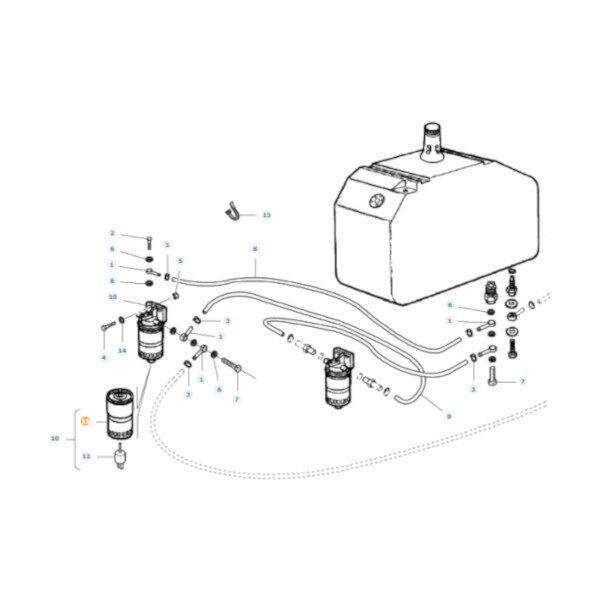 mfLA323007250 rysunek 600x600 - Filtr paliwa Massey Ferguson LA323007250 Oryginał