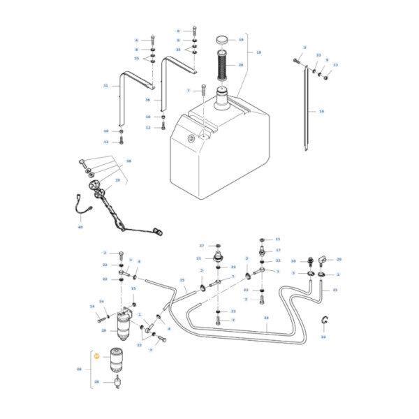 mfLA323273250 rysunek 600x600 - Filtr paliwa z separatorem wody Massey Ferguson LA323273250 Oryginał
