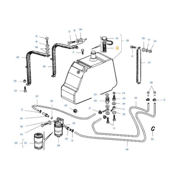 mfla322165650 rysunek 600x600 - Filtr paliwa Massey Ferguson LA322165650 Oryginał