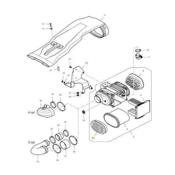 mfv37352700 rysunek 600x600 - Filtr powietrza wewnętrzny Massey Ferguson V37352700 Oryginał