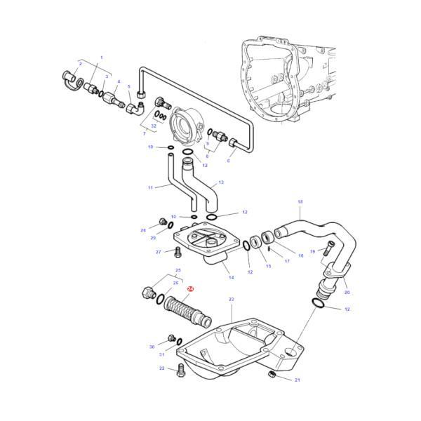 MF3712404M1 rysunek - Filtr oleju hydrauliki Massey Ferguson 3712404M1 Oryginał