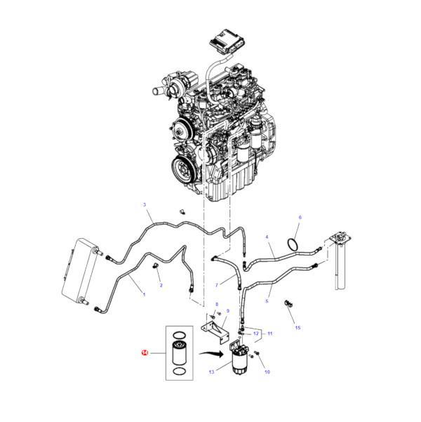 MF3909638M1 rysunek - Filtr paliwa wkład Massey Ferguson 3909638M1 Oryginał