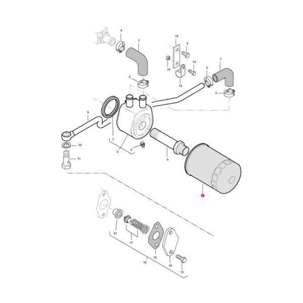 MF836679586 rysunek 600x600 - Filtr oleju silnika Massey Ferguson V836679586 Oryginał