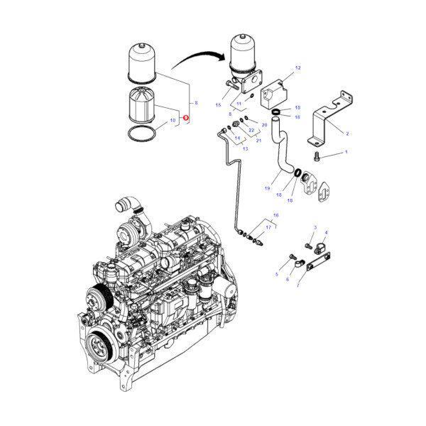 V836362228 rysunek 600x600 - Filtr oleju silnika Massey Ferguson V836362228 Oryginał