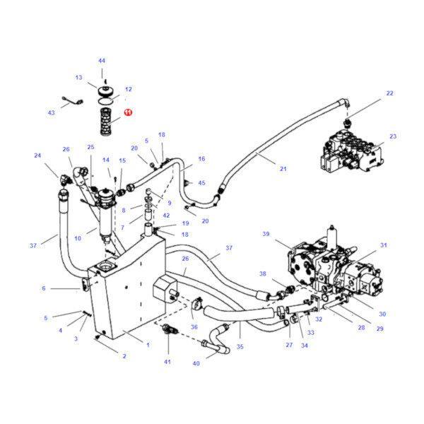 mf4235978M2 rysunek 600x600 - Filtr oleju hydrauliki Massey Ferguson 4235978M2 Oryginał