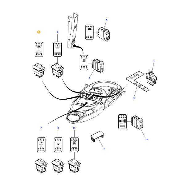 Włącznik blokady mechanizmu różnicowego Massey Ferguson 4293540M3 - schemat