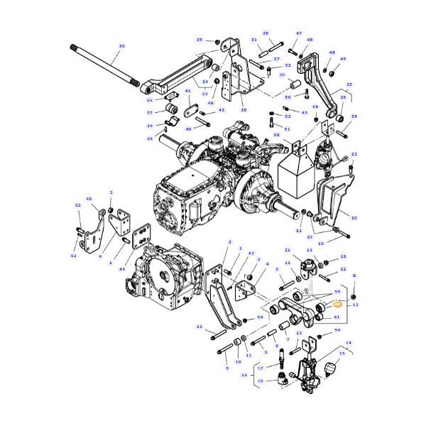 Tuleja metalowo- gumowa zawieszenie kabiny Massey Ferguson 4295028M2 schemat
