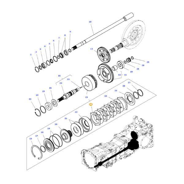 Tarcza cierna napędu przedniej osi Massey Ferguson 4368304M1 - Oryginał schemat