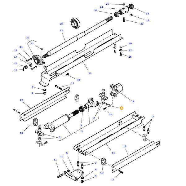Uchwyt wygięty krzyżaka wału Massey Ferguson 3783586M1 - Oryginał schemat