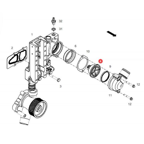 Termostat silnika Fendt F340200610020 Oryginał Katalog