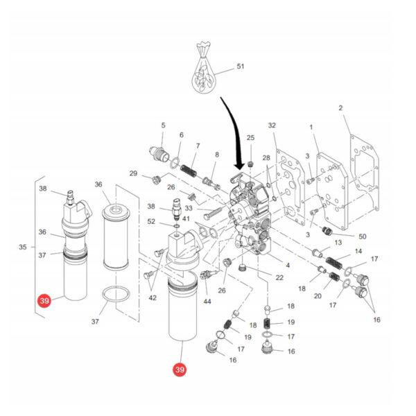 Obudowa filtra oleju hydraulicznego Massey Ferguson F916100600030 Oryginał Katalog