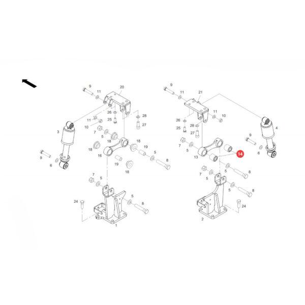 Tuleja metalowo gumowa Fendt H718500200100 Oryginał Katalog