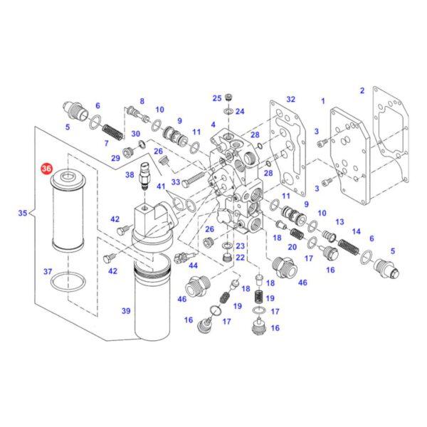 Filtr oleju hydrauliki jazdy Agro Hytos V3072046 Katalog