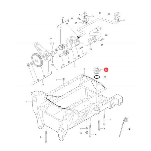 Korek wlewu oleju Massey Ferguson V836659968 Oryginał Katalog