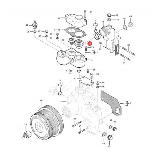 Termostat wody Massey Ferguson V837084949 Oryginał Katalog