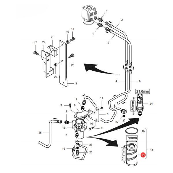 Wkład filtra oleju hydrauliki Massey Ferguson VA262648 Oryginał Katalog