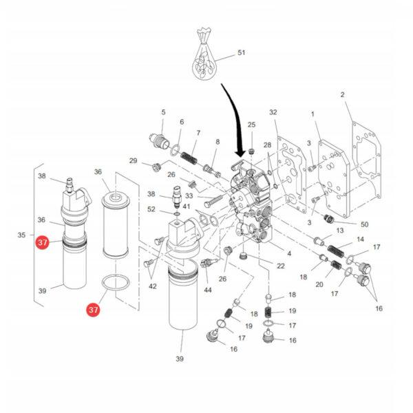 Oring filtra jazdy Massey Ferguson X548960666000 Oryginał Katalog